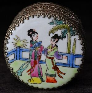 Mid-20th Century Porcelain and Metal Oriental Round Trinket/Vanity Box & Mirror