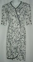 Vintage 60's Lady Blair Black White Splatter Graffiti Print Wrap Dress Retro VTG