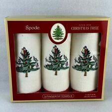 Set of 3 Fingertip Towels  Spode Christmas Tree Santa Gift Box   NEW