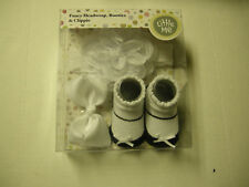 Little Me Headwrap, Booties, & Clippie Set, White W/Black Accents, 0-12 Mos, New