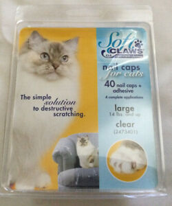 Soft Claws Nail Caps for Cats Kittens Paws 40 Nail Caps Clear Large 14lbs And Up