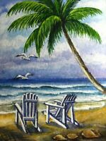 Watercolor Painting Ocean Beach Chair Palm Tree Vacation Nature Seagull ACEO Art