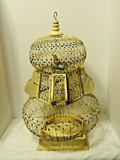 Antique 2 Tier Balloon Style Off White With Blue Accents Wire And Wood Bird Cage