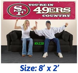 San Francisco 49ers NFL Applique and Embroidered Weather Resistant Banner 8'x2'