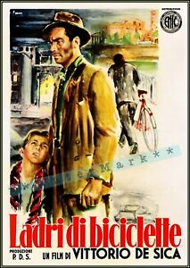 The Bicycle Thieves 1948 Ladri Di Biciclette Vintage Poster Print Classic Movie