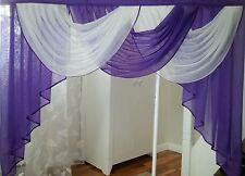 Deko-Gardine, Vorhang , Querbehang, lila/weiss, 1,80 m breit