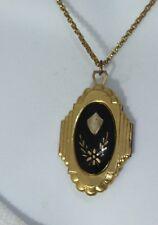 Vintage Large Locket Pendant Cable Chain Gold Tone Necklace - Enamel