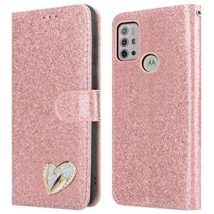 For Motorola Moto G10 Case Leather Glitter Flip Wallet Cover For Moto G10 Phone