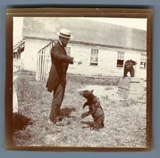 Canada, Acadia, Le dresseur d'ours, 1890 Vintage citrate print. Extrait d&#