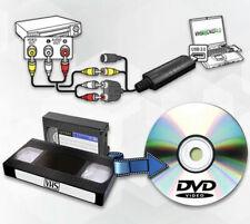 USB VHS Tapes To PC DVD Video Audio Converter 3 RCA HD DVR CCTV Capture Card U2