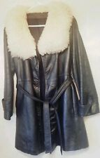 Vintage Sears Womens Long Black Leather Jacket Size 16 Belted 1970s