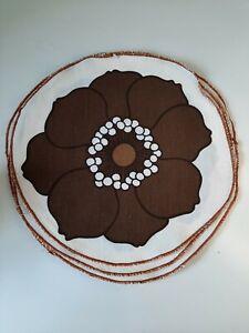 Vintage Retro Set of 6 Cloth Placemats Brown Flower Detail 30cm Diameter