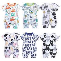 Summer Newborn Baby Boy Girl Romper Bodysuit Jumpsuit Sunsuit Outfits Clothes UK
