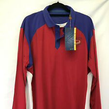 BERETTA SHOOTING SHIRT SIZE L LARGE US BLUE RED TS34 DOUBLE COLLAR LONG SLEEVES