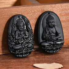 Men Women Black Natural A Obsidian Carved Buddha Pendant Necklace Rope Jewelry