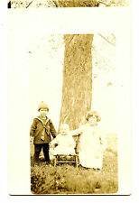 Cute Children Outside-Boy in Sailor Suit-Baby-RPPC-Vintage Real Photo Postcard