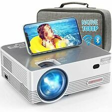 1080P & 8000L WiFi Bluetooth Projector for iOS/Android & Zoom w/Carrying Case