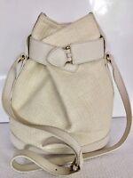 Furla Off White Canvas Leather Bucket Shoulder Hand Bag Women