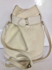 Furla Off White Canvas Leather Bucket Shoulder Hand Bag Women