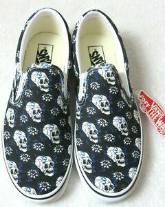 Vans Men's Classic Slip On Flash Skulls Black White Canvas Shoes Size 9.5 NIB