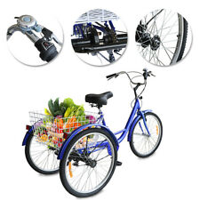 24/26 Inches Trike 7 Speed Adult Tricycle 3-Wheel Bike w/Basket for Shopping