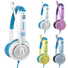 Wired Headsets Kids Headphones 3.5mm Over Ear Earphone with Mic for Computer