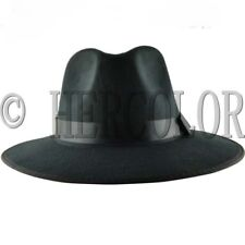 Retro Style Genuine Black Felt Wide Brim Fedora Pork Pie Hat Cap Hot