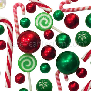 Floating Christmas Candyland: Candy Canes, Lollipops, Red & Green Pearls + Gels