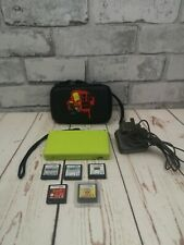 NEON GREEN nintendo DS lite handheld console bundle, 5 games, charger, case