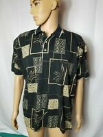 Bamboo Cay Fine Resort Wear Hawaiian Shirt Polo Mens Black Aloha Large Cotton