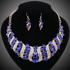 Women Gold/Plated Blue Rhinestone Crystal Necklace Earring Wedding Jewelry Sets