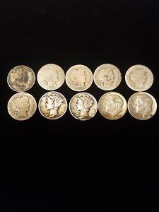 Lot Of 10 90% Silver Dimes! 3 Eras 6 Barbers, 2 Mercury & 2 Roosevelt. Original!