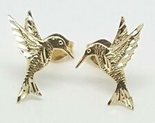 14k Solid Yellow Gold Hummingbird Stud Earrings Women/Children Push Back 13MM