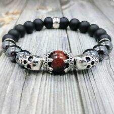 "8""L SKULL KINGS 10mm Onyx+Hematite+Red Tiger Eye Gemstone Beaded Silver Bracelet"
