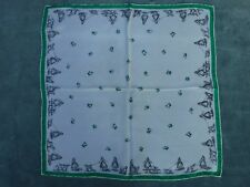 """Very Vintage Womens Hand Rolled Silk Hankie Scarf 16"""" Victorian Woman Dogs"""