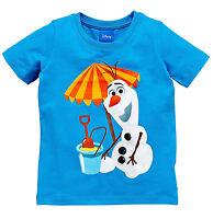 Disney Boys Olaf T-Shirt Wild for Summer In Blue Size 18-24 2-3 3-4 4-5 Years