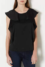 Topshop Tall Black Heavy Satin Frill Top Blouse Shirt UK 10 EURO 38 US 6 BNWT