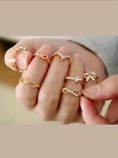 7pcs Gold Popular Crystal Bowknot Knuckle Midi Mid Finger Tip Stacking Ring Set