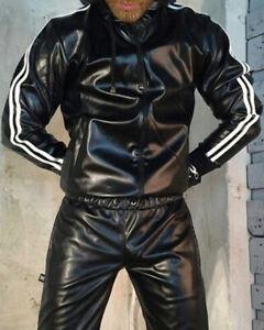 Men's Black LambSkin Leader Hoddie Tracksuit withTwo White Stripe Jogging style