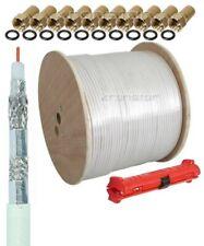 400m Koaxialkabel 135dB REINES KUPFER Sat DIGITAL Antennen Kabel HD+ Abisolierer