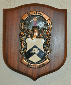 Large Balfour family plaque shield crest coat of arms