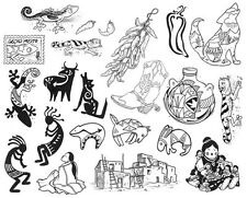 Unmounted Rubber Stamps Sheet, Southwest Primitive Kokopelli, Chili Pepper, Hopi