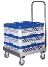Carrello porta cestelli per lavastoviglie cm 52x58x96H in acciaio con manico