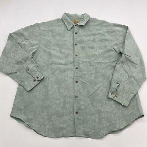 Jos. A. Bank Button Up Shirt Mens 2XL XXL Green Long Sleeve Modal Blend Floral