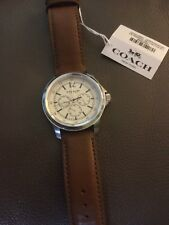 Mens NWT Coach Watch, Brown Soft Leather Band, White Chronograph Face Retail 275