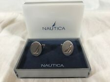 Nautica Silver Tone Logo Cuff Links Sailboat Logo in Gift Box Nautical Boats NEW