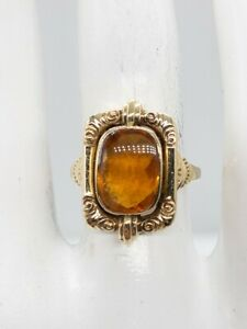 Antique Edwardian 1900s 5ct Natural Citrine 14k Yellow Gold Ring RARE