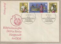 """Ersttagsbrief - """"Weltfriedenstreffen 1969 in Berlin - Hauptstadt der DDR"""" Marken"""