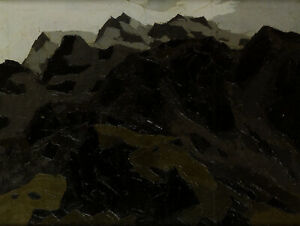 Mountains above Llanberris Kyffin Williams Welsh landscape print in 11x14 mount
