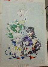 Sailor Moon Manga style art poster Outer Guardians, Sailor Pluto, Saturn, Uranus